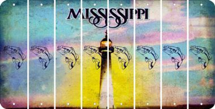 Mississippi FISH Cut License Plate Strips (Set of 8) LPS-MS1-086