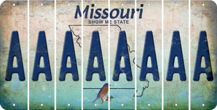 Missouri A Cut License Plate Strips (Set of 8) LPS-MO1-001