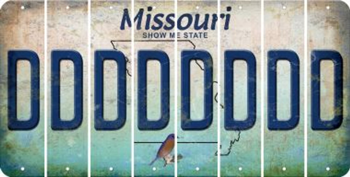 Missouri D Cut License Plate Strips (Set of 8) LPS-MO1-004
