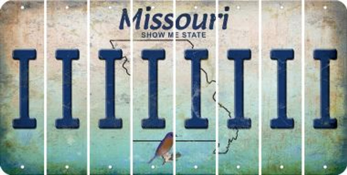 Missouri I Cut License Plate Strips (Set of 8) LPS-MO1-009
