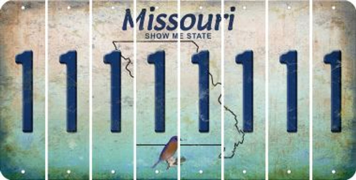 Missouri 1 Cut License Plate Strips (Set of 8) LPS-MO1-028
