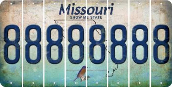 Missouri 8 Cut License Plate Strips (Set of 8) LPS-MO1-035