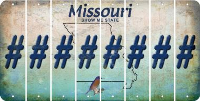 Missouri HASHTAG Cut License Plate Strips (Set of 8) LPS-MO1-043