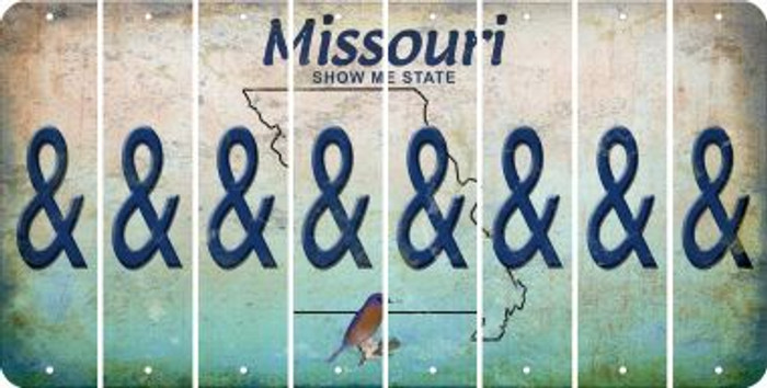 Missouri AMPERSAND Cut License Plate Strips (Set of 8) LPS-MO1-049
