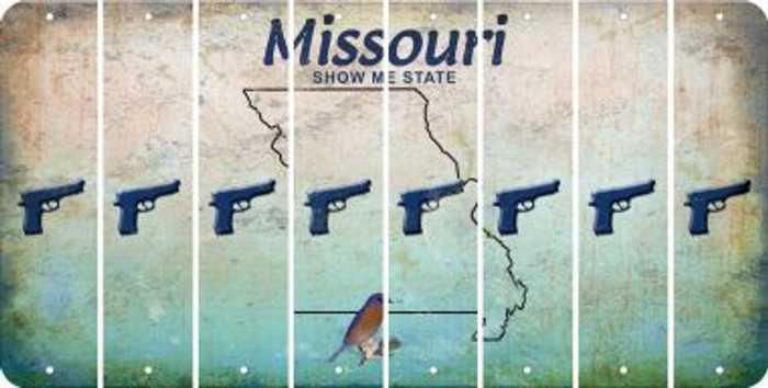 Missouri HANDGUN Cut License Plate Strips (Set of 8) LPS-MO1-051