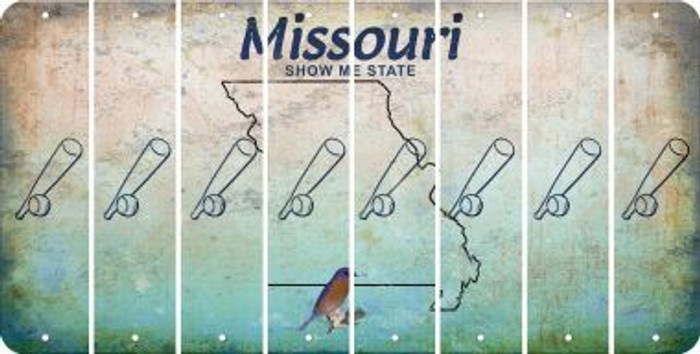 Missouri BASEBALL WITH BAT Cut License Plate Strips (Set of 8) LPS-MO1-057