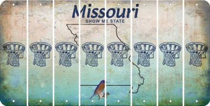 Missouri BASKETBALL HOOP Cut License Plate Strips (Set of 8) LPS-MO1-058