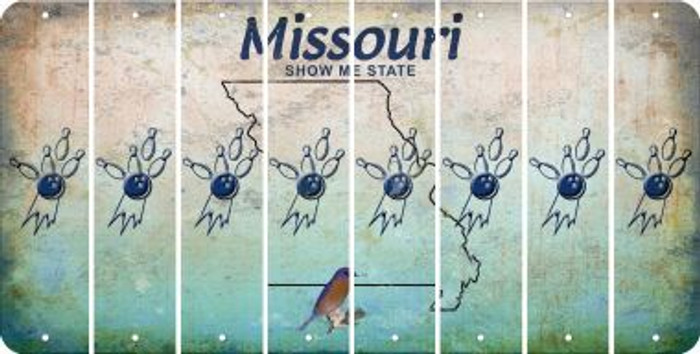 Missouri BOWLING Cut License Plate Strips (Set of 8) LPS-MO1-059