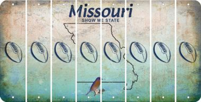 Missouri FOOTBALL Cut License Plate Strips (Set of 8) LPS-MO1-060