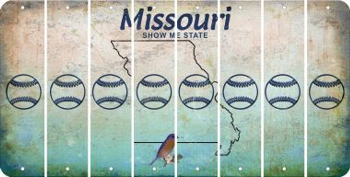 Missouri BASEBALL / SOFTBALL Cut License Plate Strips (Set of 8) LPS-MO1-063