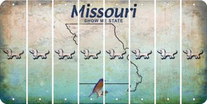 Missouri DOG Cut License Plate Strips (Set of 8) LPS-MO1-073