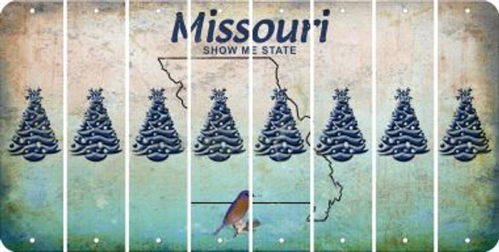 Missouri CHRISTMAS TREE Cut License Plate Strips (Set of 8) LPS-MO1-077