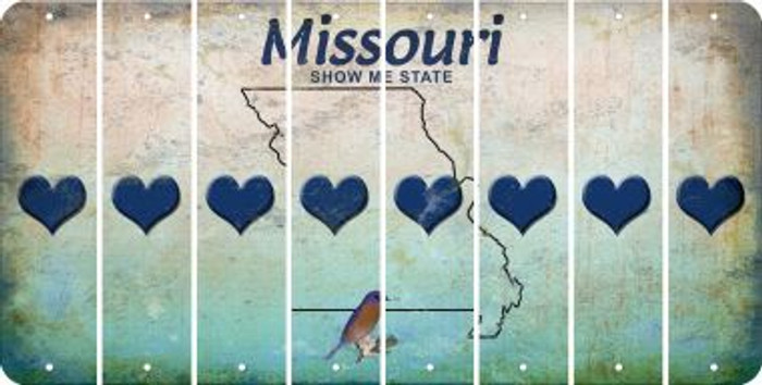 Missouri HEART Cut License Plate Strips (Set of 8) LPS-MO1-081