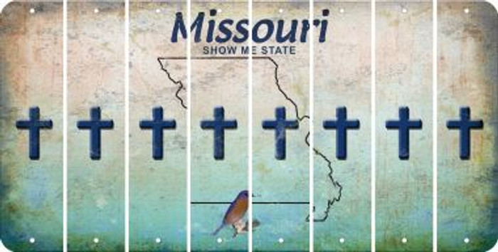 Missouri CROSS Cut License Plate Strips (Set of 8) LPS-MO1-083