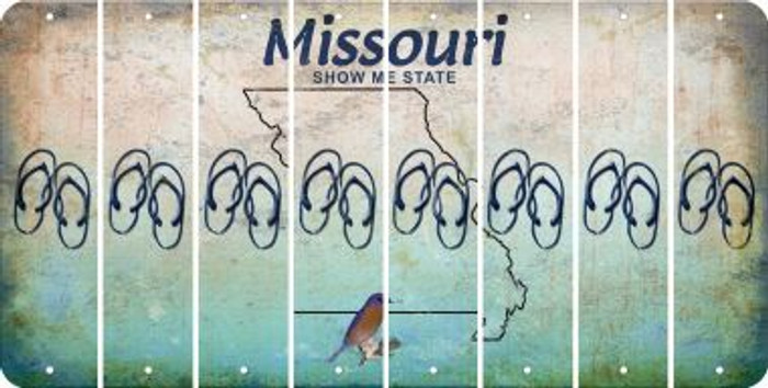 Missouri FLIP FLOPS Cut License Plate Strips (Set of 8) LPS-MO1-085