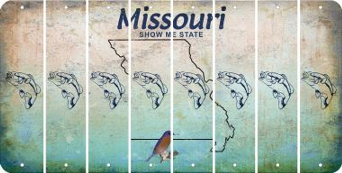Missouri FISH Cut License Plate Strips (Set of 8) LPS-MO1-086