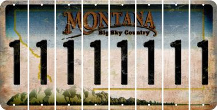 Montana 1 Cut License Plate Strips (Set of 8) LPS-MT1-028