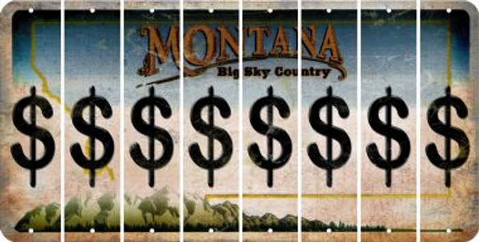 Montana DOLLAR SIGN Cut License Plate Strips (Set of 8) LPS-MT1-040