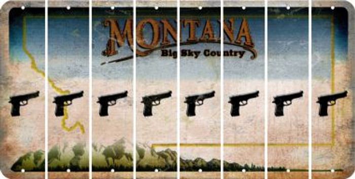 Montana HANDGUN Cut License Plate Strips (Set of 8) LPS-MT1-051