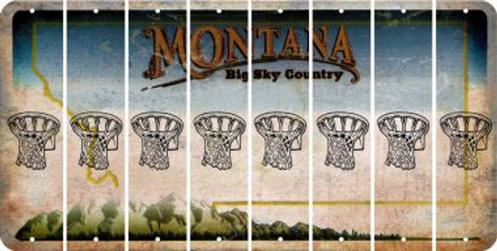 Montana BASKETBALL HOOP Cut License Plate Strips (Set of 8) LPS-MT1-058