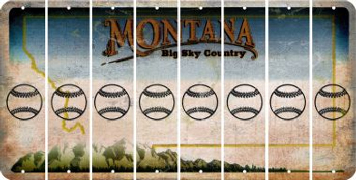 Montana BASEBALL / SOFTBALL Cut License Plate Strips (Set of 8) LPS-MT1-063