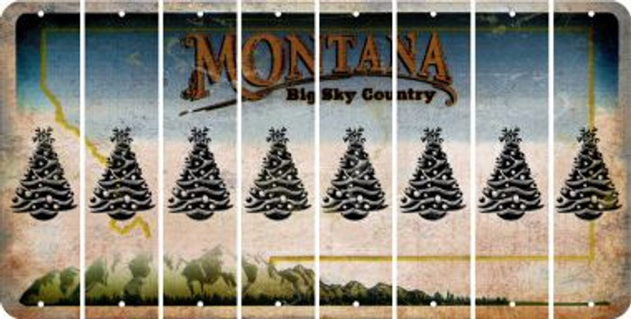 Montana CHRISTMAS TREE Cut License Plate Strips (Set of 8) LPS-MT1-077