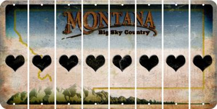 Montana HEART Cut License Plate Strips (Set of 8) LPS-MT1-081