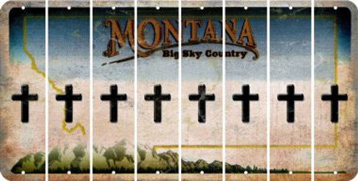 Montana CROSS Cut License Plate Strips (Set of 8) LPS-MT1-083