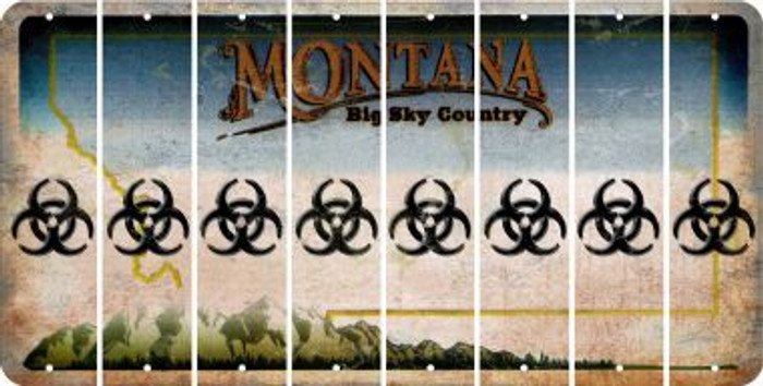 Montana BIO HAZARD Cut License Plate Strips (Set of 8) LPS-MT1-084