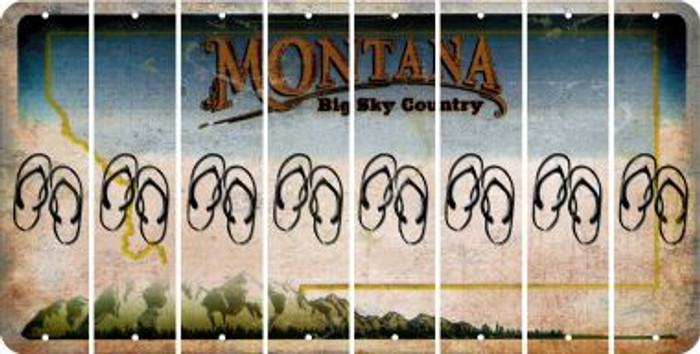 Montana FLIP FLOPS Cut License Plate Strips (Set of 8) LPS-MT1-085
