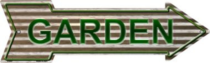 Garden On Corrugated Effect Metal Wholesale Novelty Arrow Sign A-643