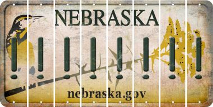 Nebraska EXCLAMATION POINT Cut License Plate Strips (Set of 8) LPS-NE1-041