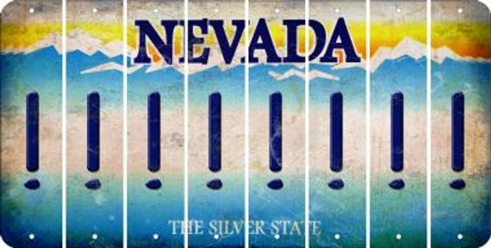 Nevada EXCLAMATION POINT Cut License Plate Strips (Set of 8) LPS-NV1-041