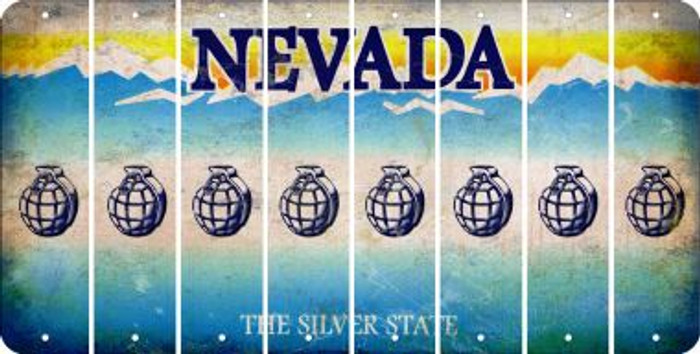 Nevada HAND GRENADE Cut License Plate Strips (Set of 8) LPS-NV1-050