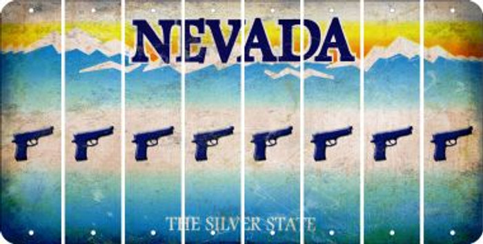 Nevada HANDGUN Cut License Plate Strips (Set of 8) LPS-NV1-051