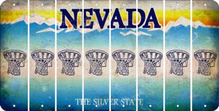 Nevada BASKETBALL HOOP Cut License Plate Strips (Set of 8) LPS-NV1-058