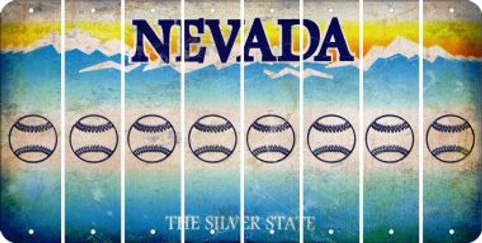 Nevada BASEBALL / SOFTBALL Cut License Plate Strips (Set of 8) LPS-NV1-063