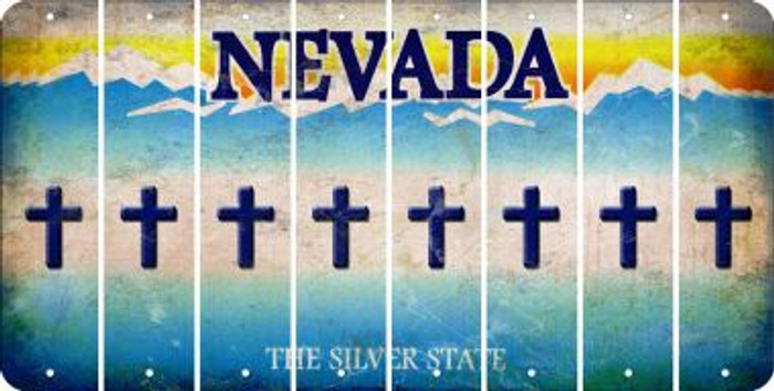 Nevada CROSS Cut License Plate Strips (Set of 8) LPS-NV1-083