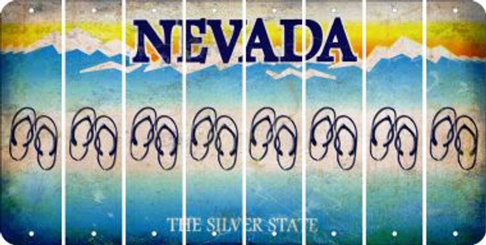 Nevada FLIP FLOPS Cut License Plate Strips (Set of 8) LPS-NV1-085