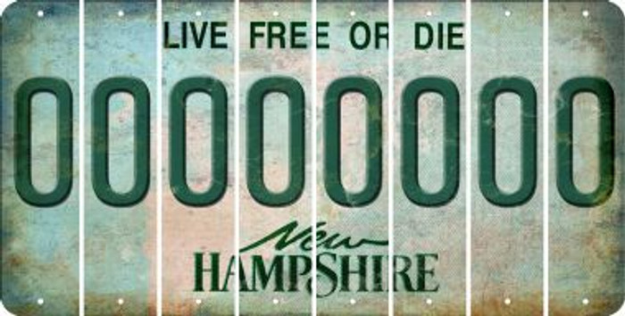 New Hampshire 0 Cut License Plate Strips (Set of 8) LPS-NH1-027