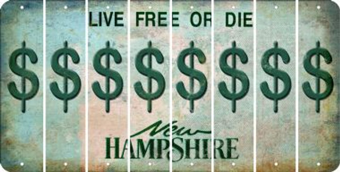 New Hampshire DOLLAR SIGN Cut License Plate Strips (Set of 8) LPS-NH1-040