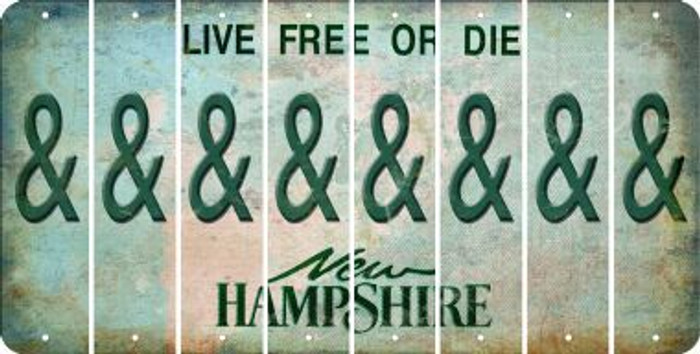 New Hampshire AMPERSAND Cut License Plate Strips (Set of 8) LPS-NH1-049