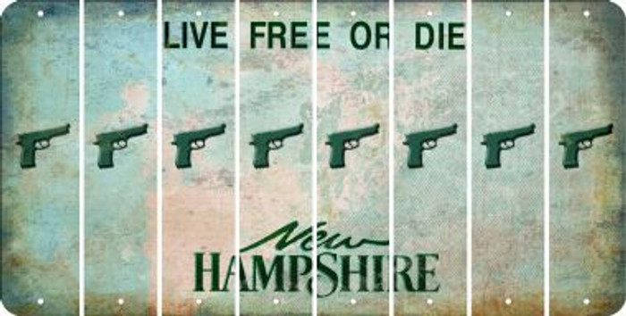 New Hampshire HANDGUN Cut License Plate Strips (Set of 8) LPS-NH1-051