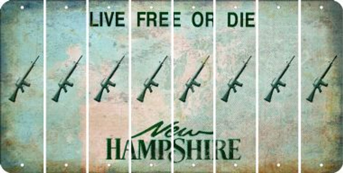 New Hampshire M16 RIFLE Cut License Plate Strips (Set of 8) LPS-NH1-052