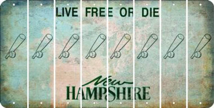 New Hampshire BASEBALL WITH BAT Cut License Plate Strips (Set of 8) LPS-NH1-057