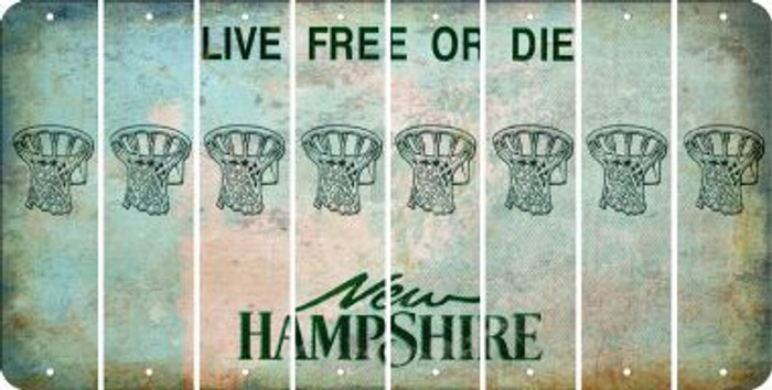 New Hampshire BASKETBALL HOOP Cut License Plate Strips (Set of 8) LPS-NH1-058
