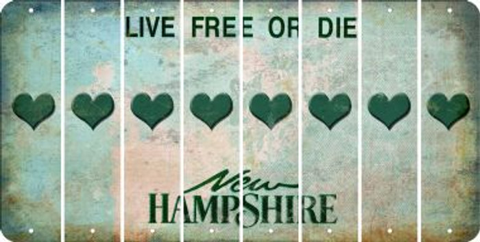 New Hampshire HEART Cut License Plate Strips (Set of 8) LPS-NH1-081