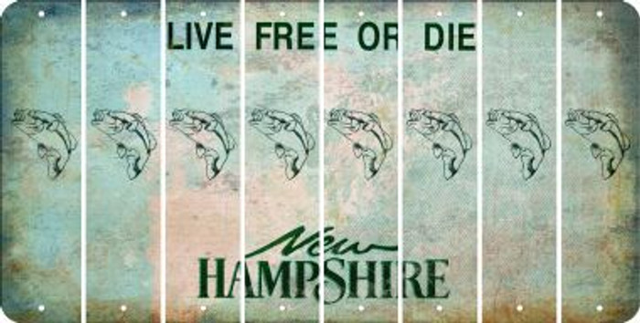 New Hampshire FISH Cut License Plate Strips (Set of 8) LPS-NH1-086