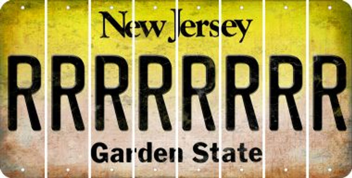 New Jersey R Cut License Plate Strips (Set of 8) LPS-NJ1-018