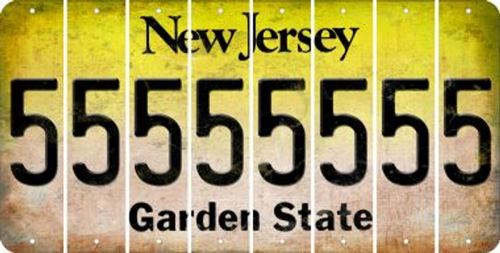 New Jersey 5 Cut License Plate Strips (Set of 8) LPS-NJ1-032
